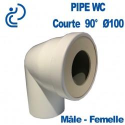 Pipe WC Coudée Courte D100 90° Mâle - Femelle