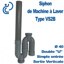 Siphon de Machine à Laver Simple VS2B sortie verticale 2 bouchons