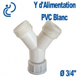 "Y D'ALIMENTATION EN PVC BLANC 3/4"""