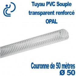 Tuyau PVC Souple Renforcé Transparent Ø50 OPAL en couronne de 50 mètres