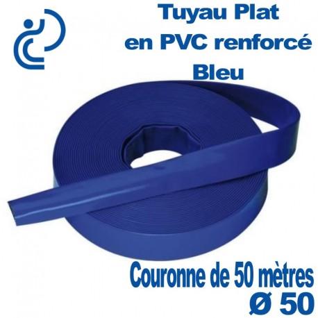 Tuyau Plat en PVC Souple Renforcé Bleu Ø50 en couronne de 50 mètres