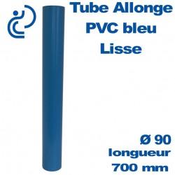 Tube allonge lisse 700 mm en PVC bleu