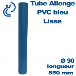 Tube allonge lisse 850 mm en PVC bleu