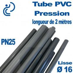 Tube PVC Pression Rigide D16 PN25 ep1.8 coupé à 2 mètres