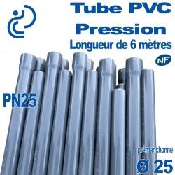 Tube PVC Pression Rigide Ø25 PN25 ep2.8 NF barre de 6 mètres Pré-manchonné