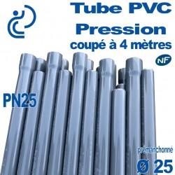 Tube PVC Pression Rigide Ø25 PN25 ep2.8 NF coupé à 4 mètres Pré-manchonné