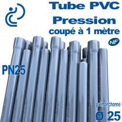 Tube PVC Pression Rigide Ø25 PN25 ep2.8 NF coupé à 1 mètre Pré-manchonné