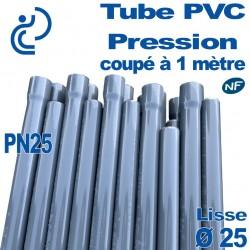 Tube PVC Pression Rigide Ø25 PN25 ep2.8 NF coupé à 1 mètre Lisse