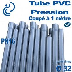 Tube PVC Pression Rigide Ø32 PN16 ep2.4 NF coupé à 1 mètre Pré-manchonné