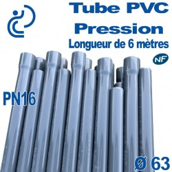 Tube PVC Pression Rigide Ø63 PN16 NF barre de 6 mètres à Coller