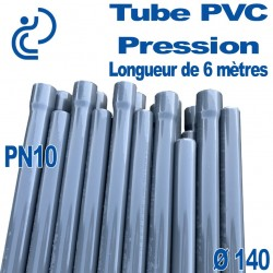 Tube PVC Pression Rigide Ø140 PN10 barre de 6 mètres à Coller