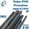 Tube PVC Pression Ø160 PN10 NF coupé à 2 mètres (tube lisse)