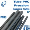 Tube PVC Pression Ø200 PN10 NF coupé à 2 mètres (tube lisse)