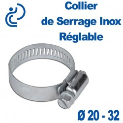 Collier de Serrage Inox Réglable 20-32