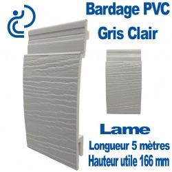 Lame Bardage Gris Clair PVC cellulaire veiné longueur 5ml