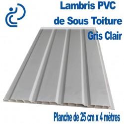 Lambris PVC de Sous Toiture Gris Clair 4 frises en Planche de 25cmX4ml