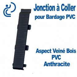 Jonction à Coller PVC Anthracite pour Bardage PVC cellulaire Aspect Veiné Bois