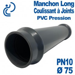 Manchon Long Coulissant PVC Pression à Joints D75 PN10