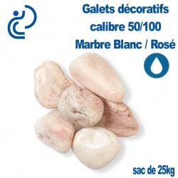 Galet Marbre Blanc Rosé 50/100 sac de 25 Kg