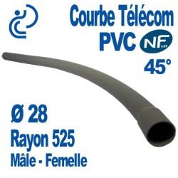 Courbe PVC NF-LST 45° Ø28 Rayon 525 Mâle Femelle