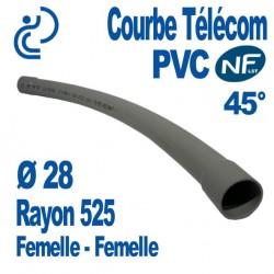 Courbe PVC NF-LST 45° Ø28 Rayon 525 Femelle Femelle