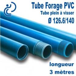 Tube Forage PVC 126.6/140 Plein A visser longueur 3ml