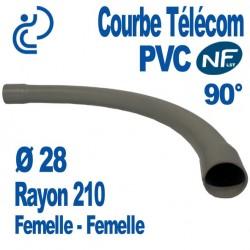 Courbe PVC NF-LST 90° Ø28 Rayon 210 Femelle Femelle