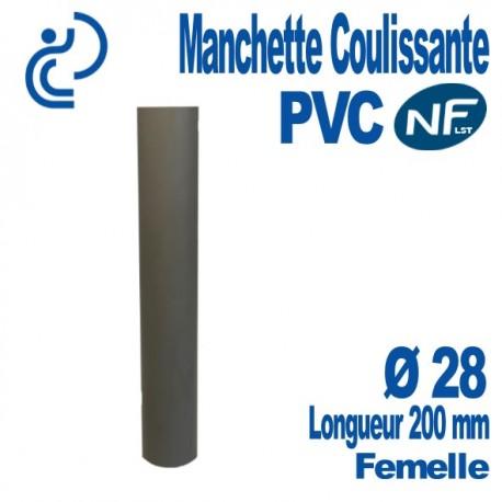 Manchette Coulissante PVC NF-LST Ø28 Femelle Longueur 200 mm