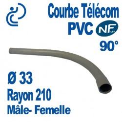 Courbe PVC NF-LST 90° Ø33 Rayon 210 Mâle Femelle