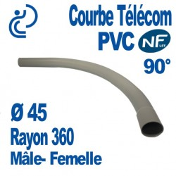 Courbe PVC NF-LST 90° Ø45 Rayon 360 Mâle Femelle