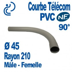 Courbe PVC NF-LST 90° Ø45 Rayon 210 Mâle Femelle