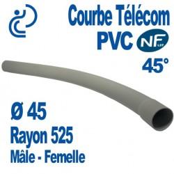 Courbe PVC NF-LST 45° Ø45 Rayon 525 Mâle Femelle