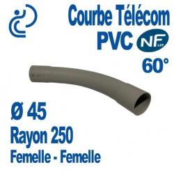 Courbe PVC NF-LST 60° Ø45 Rayon 250 Femelle Femelle