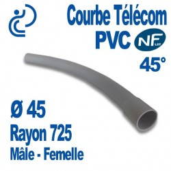 Courbe PVC NF-LST 45° Ø45 Rayon 725 Mâle Femelle