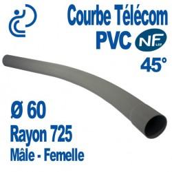 Courbe PVC NF-LST 45° Ø60 Rayon 725 Mâle Femelle