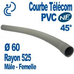Courbe PVC NF-LST 45° Ø60 Rayon 525 Mâle Femelle