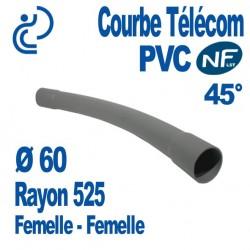 Courbe PVC NF-LST 45° Ø60 Rayon 525 Femelle Femelle