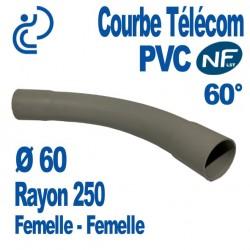 Courbe PVC NF-LST 60° Ø60 Rayon 250 Femelle Femelle