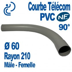 Courbe PVC NF-LST 90° Ø60 Rayon 210 Mâle Femelle