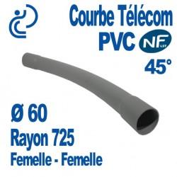 Courbe PVC NF-LST 45° Ø60 Rayon 725 Femelle Femelle