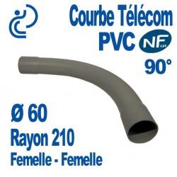 Courbe PVC NF-LST 90° Ø60 Rayon 210 Femelle Femelle