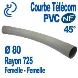 Courbe PVC NF-LST 45° Ø80 Rayon 725 Femelle Femelle