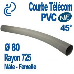 Courbe PVC NF-LST 45° Ø80 Rayon 725 Mâle Femelle
