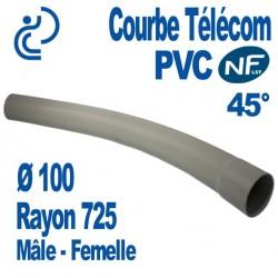 Courbe PVC NF-LST 45° Ø100 Rayon 725 Mâle Femelle
