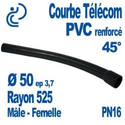 Courbe Renforcée En PVC Pression 45° Ø50 Rayon 525 Mâle Femelle