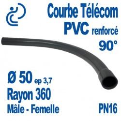 Courbe Renforcée En PVC Pression 90° Ø50 Rayon 360 Mâle Femelle