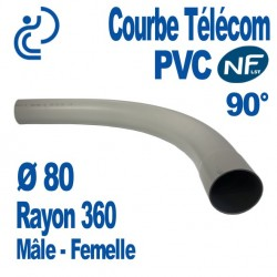 Courbe PVC NF-LST 90° Ø80 Rayon 360 Mâle Femelle