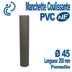 Manchette Coulissante PVC NF-LST Ø45 Femelle Longueur 200 mm