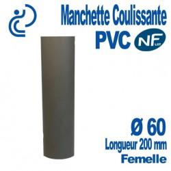Manchette Coulissante PVC NF-LST Ø60 Femelle Longueur 200 mm