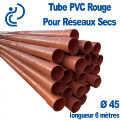 Tube PVC lisse Rouge Ø45 pour Réseaux Secs longueur 6 mètres